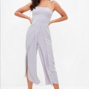 cc178a2673e Missguided Dresses - MISSGUIDED — GREY WRAP LEG BANDEAU JUMPSUIT